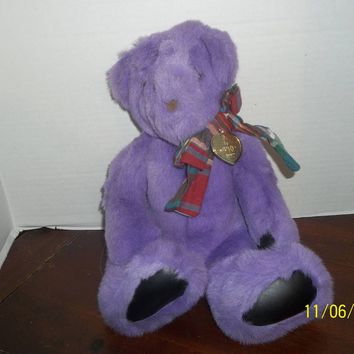 "vintage 1992 gund victoria's secret purple teddy bear plush 12"" tall"