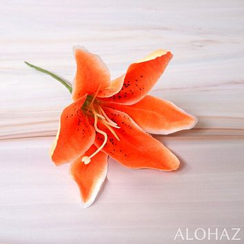 Orange Lily Hawaiian Flower Stick