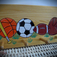 Personalized Hand Painted Coat Hanger With Sports Theme