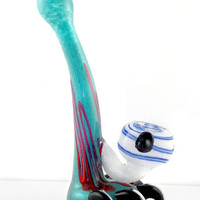 The Predator Claw - Tall Free Standing Glass Sherlock Monster Pipe in Aqua & Pink, Electric Blue on White -  Arctic Ice Version 2
