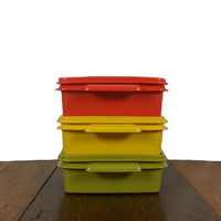 Vintage Tupperware Containers Stackable 1970s Plastic Cups Green, Orange, and Yellow - Set of 3 - Ktichen Decor Plastic Storage
