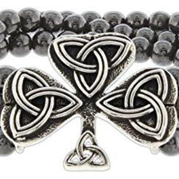 Quantum quotThe Flow of Lifequot Beaded Celtic Knot Shamrock Stretch Bracelet
