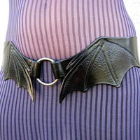 Bat Wings Black Leather Hip Belt Hand Tooled Low Waisted