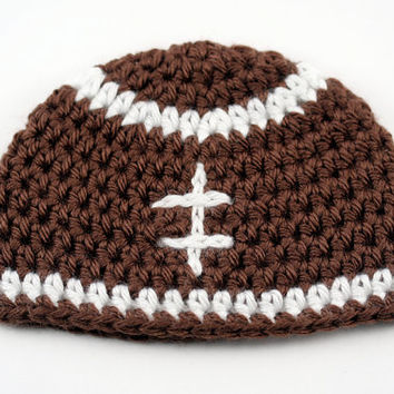 Crochet Baby Football Hat // Newborn Football Beanie // Photography Prop