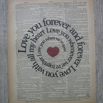 I Will Song Print - Love You Forever And Forever - The Beatles - Music Art -  Altered Vintage Book Page - Typography