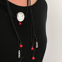 Modern Statement Necklace, Black Leather Choker Wrap Long Pendant