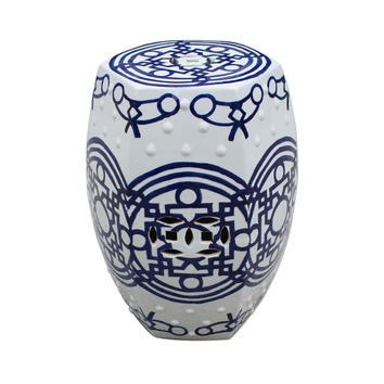 Blue and White Chinese Porcelain Garden Stool Line Patterned 19""