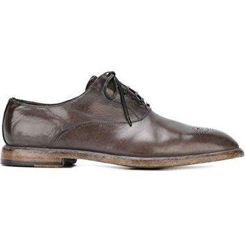 DOLCE E GABBANA MEN'S A20007A182880701 GREY LEATHER LACE-UP SHOES