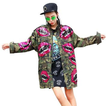 2018 Lips Sequins Beading Spring Jacket Coat Women Army Green Camouflage Women Bomber Jacket Casaco Feminino Women Basic Coats