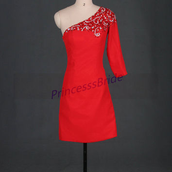 2014 short red satin prom dresses with rhinestones,unique homecoming gowns hot,cheap one shoulder dress for party,women dresses.