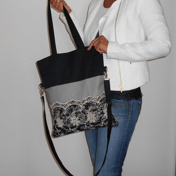 Canvas Tote Bag, Black Foldover Bag, Lace Crossbody Bag, Black tote Bag, Grey Tote Bag, Lace Tote, Everyday Bag, Convertible Bag