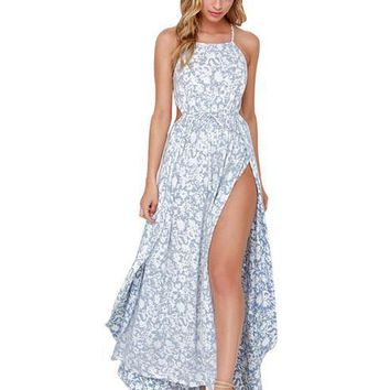 Sexy Strap Print Sleeveless Long Dress Blue Pink Side Split Backless Shift Beach Wedding Maxi Dress Summer Party Bohemian Dress