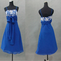 A-line Spaghetti Straps Sleeveless Knee-length Chiffon Prom Dresses/Wedding Dress/Cocktail Dress With Embroidery Free Shipping