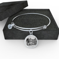 Beach Sleep Repeat Bangle (Silver or Gold)