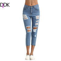 DIDK Womens Summer Blue Ripped Skinny Denim Pants Mid Waist Button Fly Trousers For Women Casual Ankle Length Jeans
