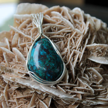 Old Stock Chrysocolla Pendant Wrapped 925 Sterling Silver Wire Jewelry