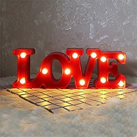 """Cute LOVE Marquee Sign(11.6"""" x 4.13"""" x 1.77"""") - LED Light up LOVE Letters- Romantic Night Table Lamp - Gift For Wedding Decor(Red)"""