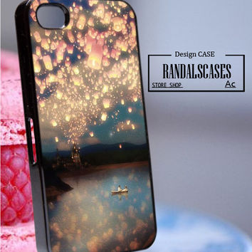 Rc1011Y14_Tangled,Flying Lanterns,rapunzel - Accessories iPhone - design print for iPhone 6 - Black Case - Material Soft Rubber (TPU)
