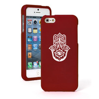 For iPhone 4 4S 5 5S 5c Red Rubberized Hard Case Cover Hamsa Hand