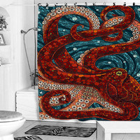 mosaic octopus shower curtain
