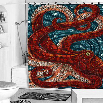 mosaic octopus shower curtain from pakpung on Etsy | shower
