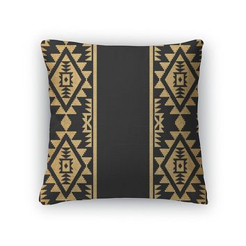 Throw Pillow, Gold And Black Ethnic