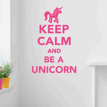 Keep Calm And Be A Unicorn Wall Decal Sticker, Vinyl Wall Art, Wall Decor