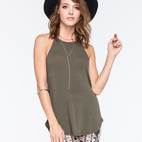 FULL TILT Essential Ribbed Hi Neck Womens Tank | Essentials