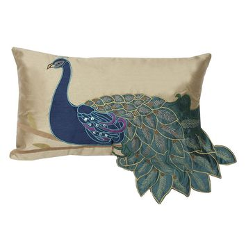 Thro By Marlo Lorenz Fancy Peacock Throw Pillow (Blue)