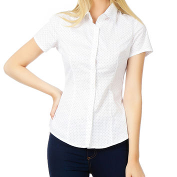 LE3NO Womens Polka Dots Short Sleeve Button Down Tailored Shirt