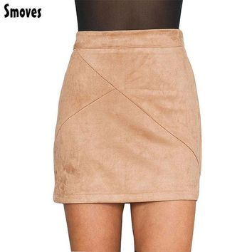 LMFET7 Smoves Womens Vintage 80`s Retro High Waist Patchwork Suede Skirt Thick Warm Winter Autumn Spring Casual Mini Pencil Skirts