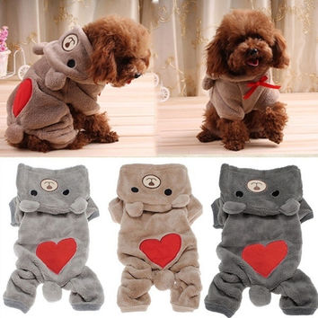 Sweet Pet Dog Spring Clothes Jumpsuit Teddy Bear Warm Fleece Hoodie Hooded Coat [7653682438]