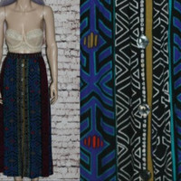 90s High Waist Maxi Skirt Tribal Black Bright Rayon Midi Grunge Hipster Boho Festival Ethnic Hippie XL X Large Button Up 80s