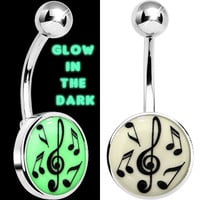 Glow in the Dark Music Notes Belly Ring | Body Candy Body Jewelry