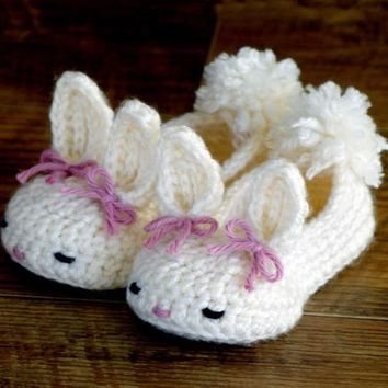 Handmade Crocheted Bunny Baby Shoes - 0-9 Months 100% cotton