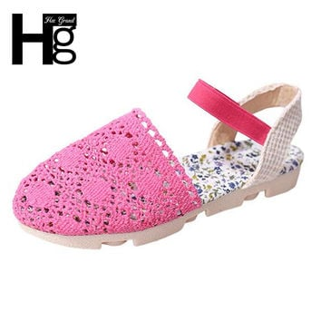 HEE GRAND Women Sandals Cut outs Small Flowers Summer Style Closed Toe Girl's Flat with Women's Shoes Size 35-39 XWZ4309
