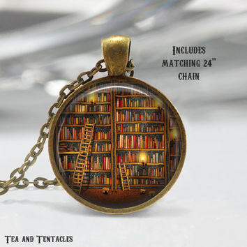 Library Necklace, Books, Librarian, Literacy, Art Pendant, chain included X10