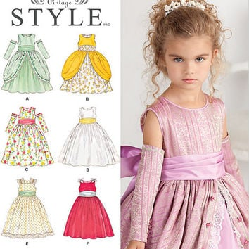 Cinderella Dress for Little Girls, Dress Pattern Girls, Flower Girl Dress, Pageant Dress, Formal Dress, Girls Gauntlets, New Simplicity 1508
