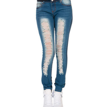 Stretch ripped 2 toned denim skinny jeans