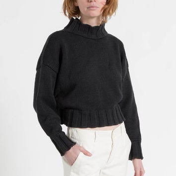 Vintage 90s Black Chunky Cotton Knit Cropped Turtleneck Sweater | M