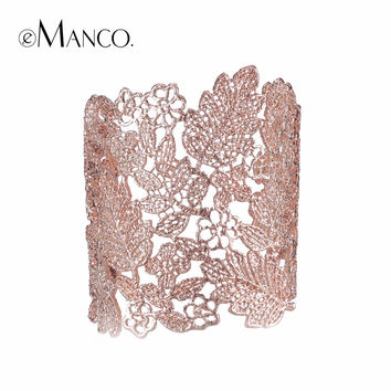 eManco 4 Color Trendy Vintage Skeleton Statement Cuff Lace Bangles & Bracelets for Women Zinc Alloy Gold Plated Brand Jewelry