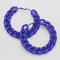 Chain Hoop Earrings Blue