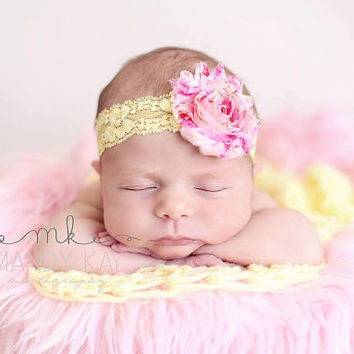 Baby Headband, Pink headband, Yellow baby headband, Flower Headband, Baby Bow, Hair Accessories, Infant headband