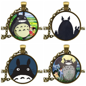 Fashion Bronze Chain Acrylic Cabochon Cute Kawaii Japanese Cartoon Anime Totoro Divergent Necklace For Girl Women Jewelry