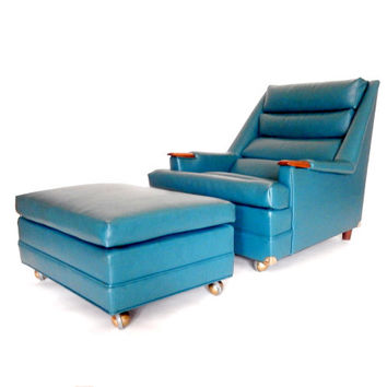 Mid Century Chair and Ottoman Teal Blue Green Lounge Chair Accent Chair Retro Armchair Atomic Armchair Mid Century Modern Furniture