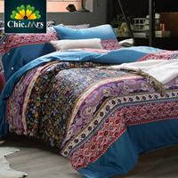 Bohemian Style Luxury Cotton Printed King Queen Size Bedding Set 100% Egyptian Cotton Home Bed Sets Duvet Cover Bed sheet 4pcs
