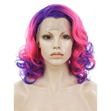Carmine Purple Roots Short Wave Synthetic Lace Front Wig