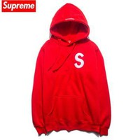 Tide brand Hooded Hood Supreme embroidery sweater Men autumn and winter loose plus vel