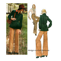 70s Vogue JACKET SHIRT & PANTS Pattern Wide Leg Pants Jean Patou Designer Vogue 2946 Paris Original Bust 34 Vintage Womens Sewing Patterns