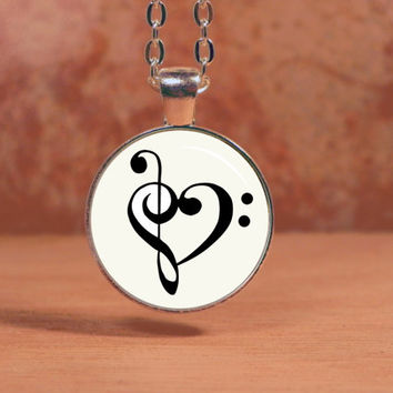 Treble and Bass Clef Heart Glass Art Pendant Necklace